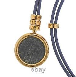 Bvlgari Bulgari Monete Ancient Coin Gold Pendant Cord Necklace