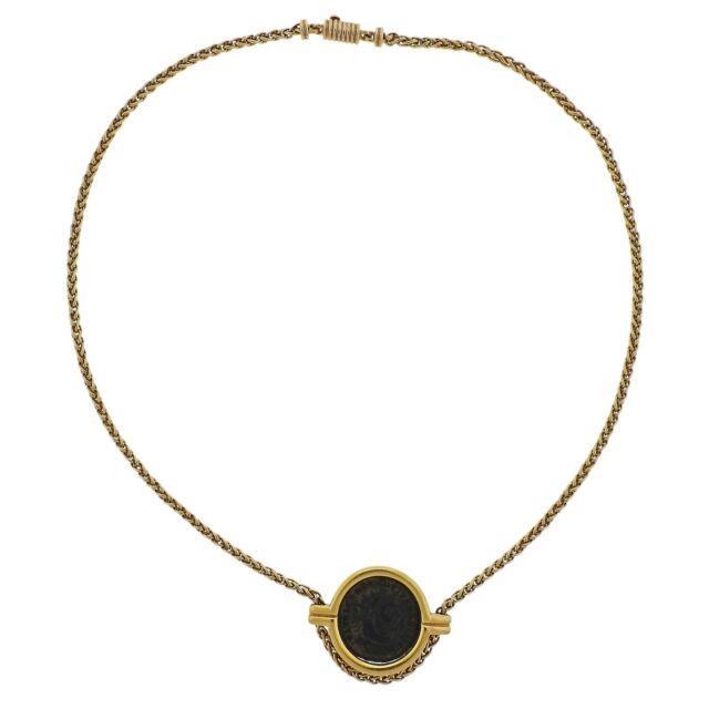 Bvlgari Bulgari Monete Roma Constantinus Ancient Coin Gold Necklace