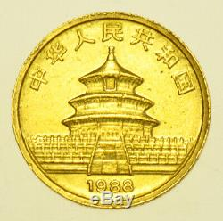 CHINA 10 YUAN, 1/10th OZ. 999 FINE GOLD PANDA, 1988 GOLD COIN EF