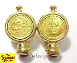 CIG Pair of 14K Gold Earrings with2 1/20 OZ-T. 999 Fine Pure Gold Panda Coins 8.7g