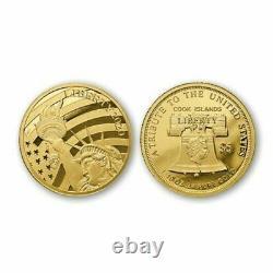 COOK ISLANDS $5 1/10 oz. 24(%)Fine GOLD /. 76(%) Fine COPPER Statue Liberty Coin