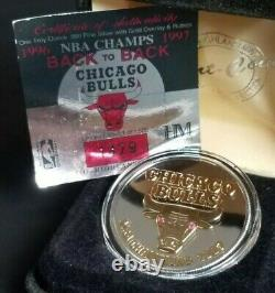 Chicago Bulls Highland Mint Coin 999 Fine Silver Gold Ruby NBA Champs 1997 1479