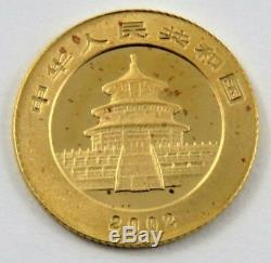 China 2002 5 Yuan Gold 1/20 Oz. 999 Fine Panda Bu Unsealed. See Pictures