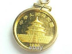 Circa 1988 999.9 Panda gold coin 5 yen 1/20oz in 14k gold bezel pendant. 2.8gm