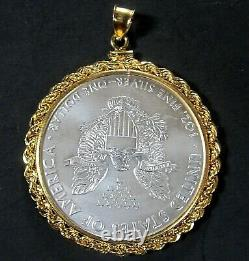 Coin Pendant 2018 1 oz Fine American Silver Eagle Dollar Gold Filled Rope Bezel