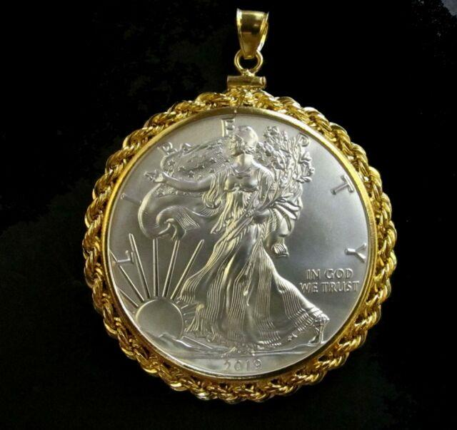 Coin Pendant 2019 1 Oz Fine American Silver Eagle Dollar Gold Filled Rope Bezel