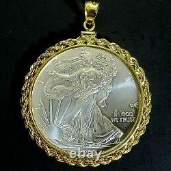 Coin Pendant 2020 1 oz Fine American Silver Eagle Dollar Gold Filled Rope Bezel