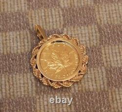 ESTATE 1/10oz 9999 FINE GOLD 1987 MAPLE LEAF COIN SET IN 14K GOLD ROPE PENDANT