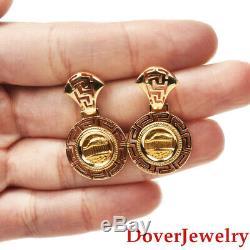 Estate 14K 22K Yellow Gold Greek Coin Dangle Earrings 7.0 Grams NR