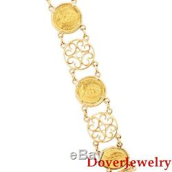 Estate 14K Yellow Gold 24K Gold Hawaii Queen Coin Link Bracelet 12.5 Grams NR