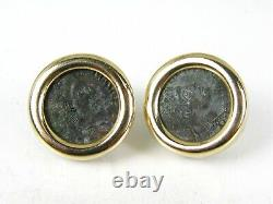 Estate 14k Yellow Gold Ancient Coin Button Ladies Earrings 10.8g I606