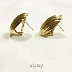 Estate 14k Yellow Gold Fine Art Deco Scallop Roberto Large Coin Earrings