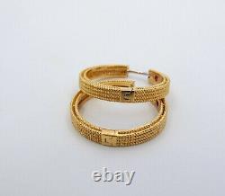 Estate 18K Robert Coin Symphony Barocco Hoop Earrings Fine Jewelry (YCT)