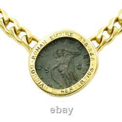 Estate BULGARI Roman Empire Metal Coin Necklace In 18k Yellow Gold, Curb Chain