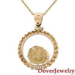 Estate Diamond 14K Gold'Old California 22K Gold' Coin Pendant 5.9 Grams NR