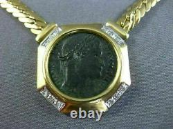 Estate Large. 26ct Diamond 18kt White & Yellow Gold Octagon Roman Coin Necklace
