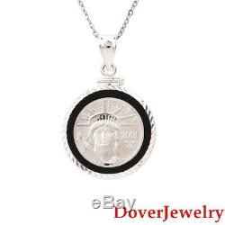 Estate Onyx Platinum'Liberty Coin 2001' 14K White Gold Pendant 6.1 Grams NR
