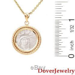 Estate Platinum'Liberty Coin 2001' 14K Yellow Gold Pendant NR