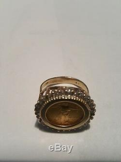 Fine 5 Dollar Gold Coin Diamond Yellow Gold Jewelry Ring