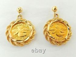 Fine Gold. 999'My Own Guardian Angel' 1gm Coin Each Earrings 14K Bezel 2-sided