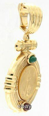 Fine Gold Coin Pendant 14kt Yellow Gold 2 Walking Liberty American Gold