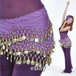 Fine Golden Coin Belly Dance Hip Scarf Wrap Belt Dancer Skirt Costume Belt