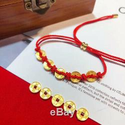 Fine Solid Pure 999 24Kt Yellow Gold Five Coin Bead Link Bracelet 6.7inch