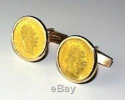 Franc. Ios. I. D. G. Avestriae. Imperator Coin Gold Cufflinks