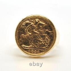 Gents Mens SOLID18k Yellow Gold 1896 1/2 Sovereign Fine Coin Bezel Ring Size 12