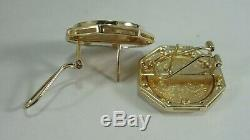 Genuine 14kt Yellow Gold Earrings 21/10 oz 999 Fine Gold 2002 $5 Coins Diamonds