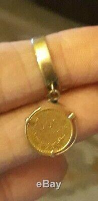 Genuine 1945 Dos Peso Coin Dangle Wide Band Pinky Ring 14k Gold