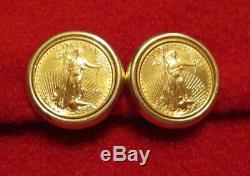 Genuine Liberty Fine 22k Gold 1998 $5 Coin Earrings, 14k Omega Backs