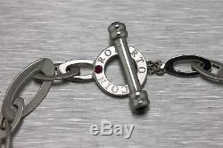 Genuine Roberto Coin Chic and Shine Circle 18K White Gold Toggle Clasp Bracelet