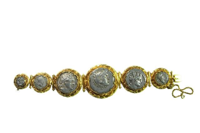 Georgian 18k Yellow Gold Ancient Roman Silver Coin Bracelet Antique Empire