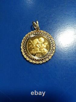Gibraltar-1998 -1/10 oz. 9999 Fine Gold Royal Angel Coin in 14k Yellow Bezel