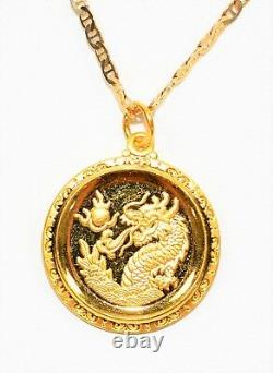 Gold Coin 14kt Yellow Gold Oriental Dragon Pendant Necklace