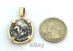 Greek Coin Pendant Boy on Dolphin Tara Calabria 14k Jewelry