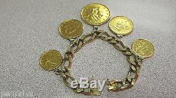Heavy 14k Gold Coin Bracelet Full of USA Old Gold Coins 7 inch Make Offer
