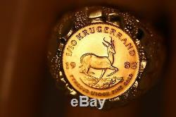 Heavy 14k Yellow Gold Nugget Fine Gold 1982 Krugerrand 1/10 Oz Gold Coin Ring