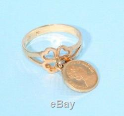 Isle of Man Coin Ring 1988 Set in 14K Yellow Gold Vintage Estate Coin Ring