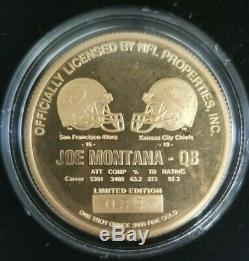Joe Montana 1995 troy oz. 999 Fine GOLD Coin #83 & Info Card Highland Mint NFL