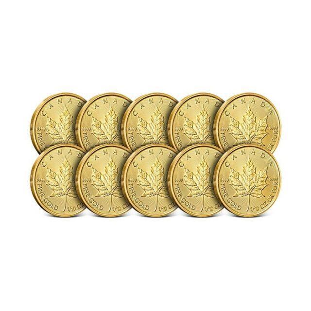 Lot Of 10 2019 1/10 Oz Canada Gold Maple Leaf Coin. 9999 Fine Bu