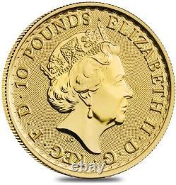 Lot of 10 2021 Great Britain 1/10 oz Gold Britannia Coin. 9999 Fine BU