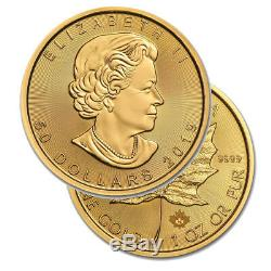 Lot of 10 Gold 2019 Maple 1 oz Canadian Gold Leaf $50.9999 Fine coins Bank WIRE