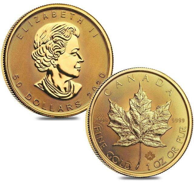 Lot Of 2 2020 1 Oz Canadian Gold Maple Leaf $50 Coin. 9999 Fine Bu