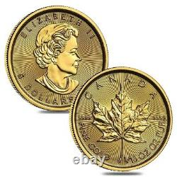 Lot of 2 2021 1/10 oz Canadian Gold Maple Leaf $5 Coin. 9999 Fine BU (Sealed)