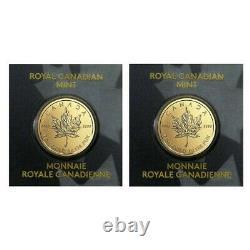 Lot of 2 2021 1 gram Canadian Gold Maples $. 5 Coin. 9999 Fine Maplegram25