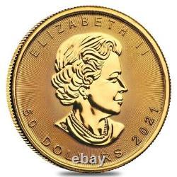 Lot of 2 2021 1 oz Canadian Gold Maple Leaf $50 Coin. 9999 Fine BU
