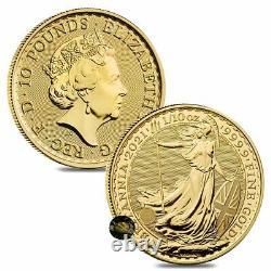 Lot of 2 2021 Great Britain 1/10 oz Gold Britannia Coin. 9999 Fine BU