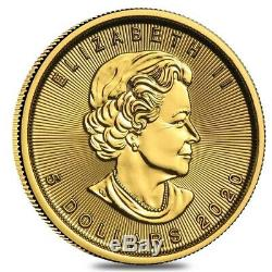 Lot of 20 2020 1/10 oz Canadian Gold Maple Leaf $5 Coin. 9999 Fine BU (Sealed)